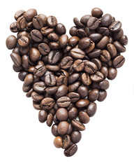 Heart from coffee beans isolated on white background