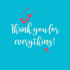 Blue Thank you for everything card with pink hearts