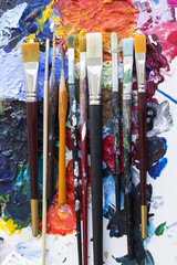 Various Paintbrushes on a Palette