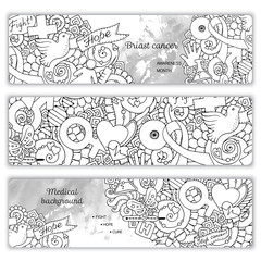 Vector set with science, medicine and flowers. Medical Background.