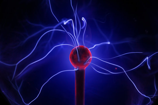 Discharge in the plasma ball.