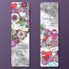 Set with doodles science, medicine and flowers. Medical Background.
