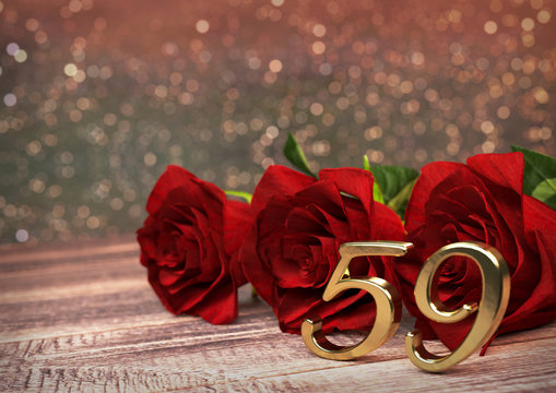 birthday concept with red roses on wooden desk. fifty-nineth. 59th. 3D render