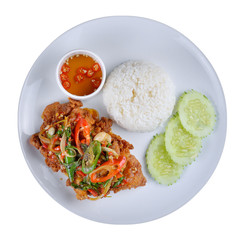 Thai stir-fried chicken and basil served with rice