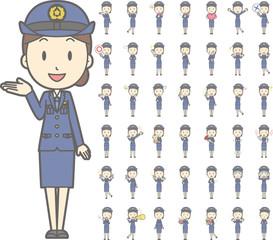 制服を着た警察官の女性vol.1(案内・指差し・笑顔など, 様々な表情やポーズのイラストをセット)
