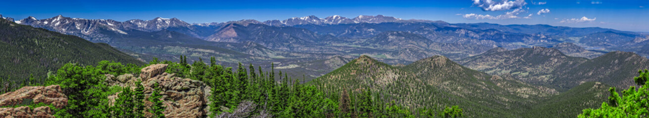 Panoramic view from the top of Estes Cone in Rocky Mountain National Park, Colorado, USA