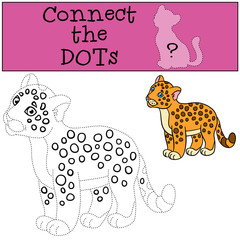 Educational game: Connect the dots. Cute baby jaguar smiles.