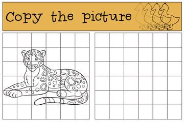 Educational game: Copy the picture. Cute jaguar smiles.