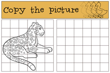 Educational game: Copy the picture. Cute jaguar smiles.