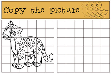 Educational game: Copy the picture. Little cute baby jaguar.
