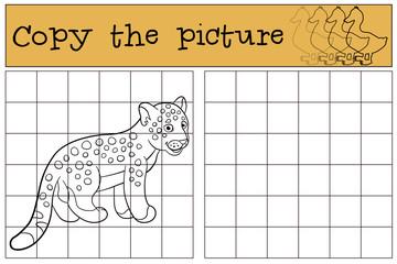 Educational game: Copy the picture. Little cute baby jaguar.