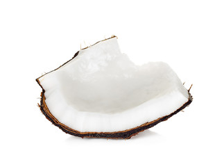 Slice coconut isolated on the white background