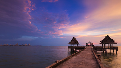 Beautiful sunset sky, Walking path leading to seacoast, natural landscape background