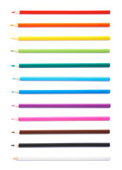 Set of multiple color pencils isolated