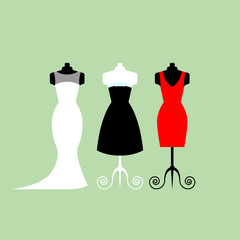 Collection of white, black and red dresses - stock vector illustration. Clothing shop, flat style.