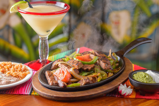 Traditional Mexican food carne asada fajitas