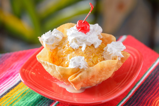 Traditional Mexican food dessert fried ice cream