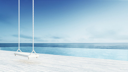 Wooden Swing & Hang Chair - Beach lounge - Sea View from Balcony / 3D render image