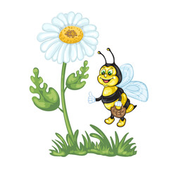 Illustration of cute cartoon bee and daisy flower