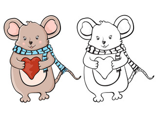 Cute mouse with heart. Coloring book