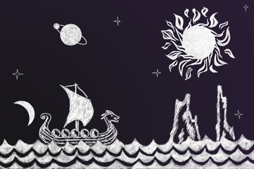 Funny history chalk drawing with Viking ship and fjord
