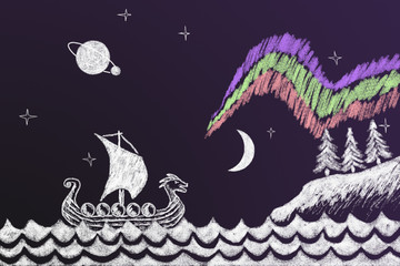 Funny history chalk drawing with Viking ship under northern ligh