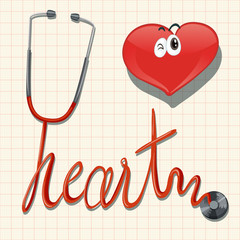Stethoscope and heart on graph paper