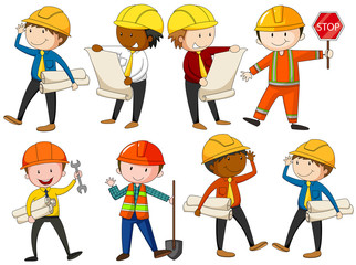 Set of engineers and construction workers