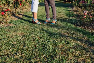 Closeup of women legs in the park