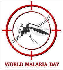 World malaria day sign with mosquito in focus