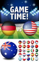 Flags on round balls and stadium