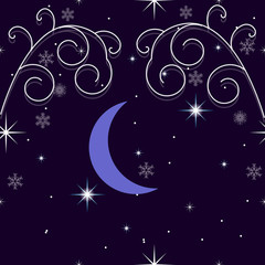 Winter background with snowflakes, stars, crescent moon and snow. Decorations for Christmas