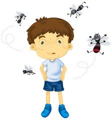 Mosquitos biting little boy