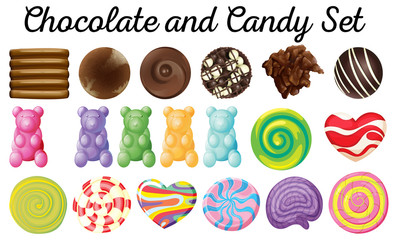 Different design of chocolate and candy set