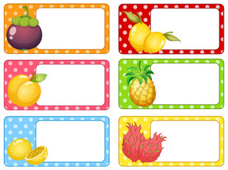 Square labels with fresh fruits