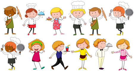 Different occupations working in restaurant
