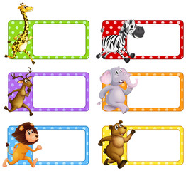 Wild animals on square tags