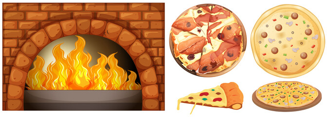 Set of pizza and stone oven