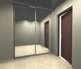 mirrored wardrobe with sliding doors, interior design 3D rendering