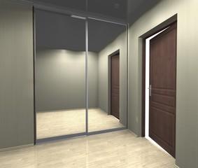 mirrored wardrobe with sliding doors, interior design 3D rendering