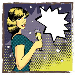 Woman with wine glass in pop art retro style. Comic vector illustration. Beautiful girl drinking champagne