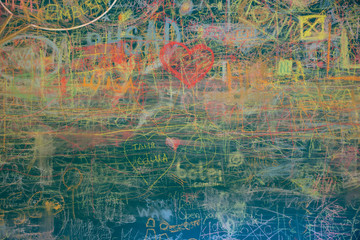 View of colorful chalkboard