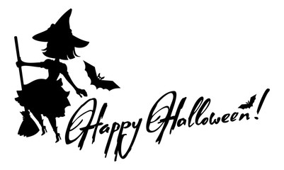 Wall Mural - Silhouette of a witch flying on broom and holiday greeting