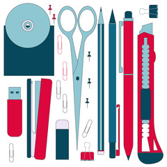 Flat stationery tools, pen set. Pen, pencil, scissors, collection. Pens vector set. School pens tools. Office tools.