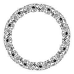 Round decorative frame with card suits. Vector clip art.