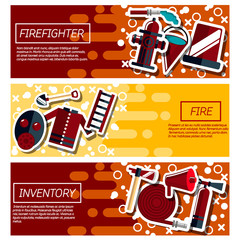 Set of Horizontal Banners about firefighter