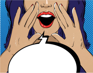 Woman with speech bubble in retro pop art style. Girl screaming template comic vector illustration. Face open mouth