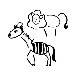 Lion and Zebra in a children's illustration