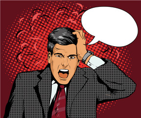 Businessman in panic of the financial crisis or business failure. Vector illustration in pop art retro style. Man with speech bubble