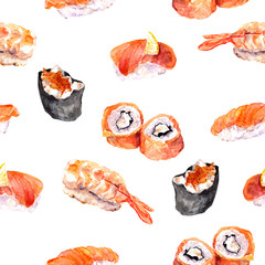 Sushi, roll, gunkan seamless sea food pattern. Watercolor
